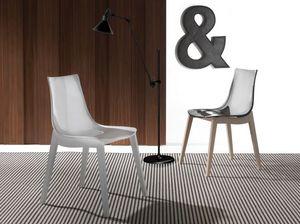 Art. 017 Orbital Wood, Stuhl mit Acryl-Sitz, Buchenholz Beine