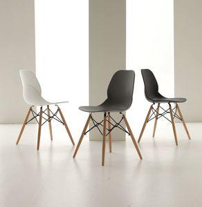 Art. 022 Shell Wood, Polypropylen Stuhl mit Holzbeinen