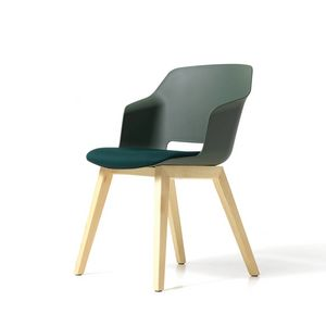 Clop 4 Beine Holz imb, Gepolsterter Stuhl mit Holzbeinen