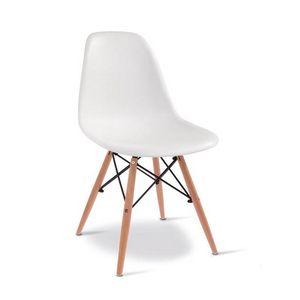 D10, Holzstuhl mit Kunststoffschale
