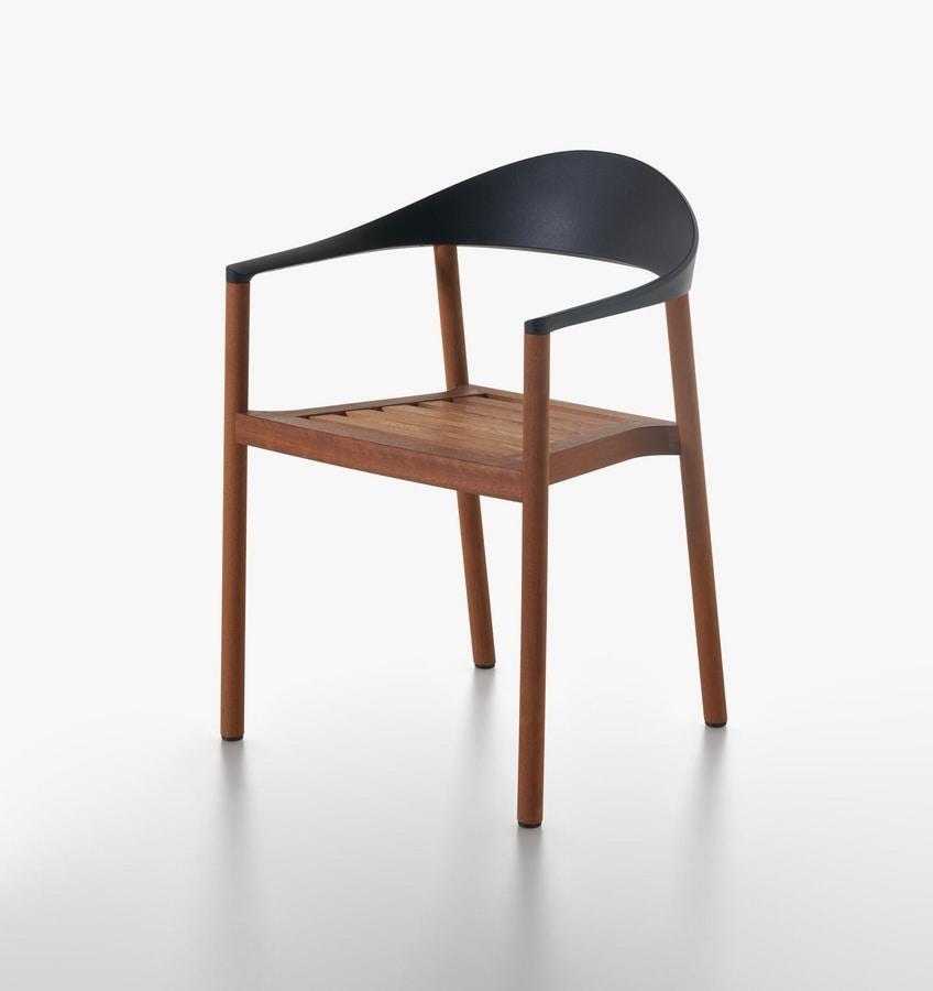 Monza mod. 1209-40 outdoor, Außen-Sessel in iroko massivem Holz