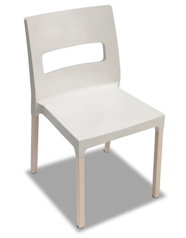 Natural Diva, Moderner Stuhl aus Holz und Technopolymer, stapelbar