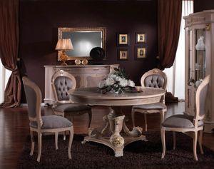 3640 TISCH, Runder Tisch im klassischen Stil, Outlet-Preis
