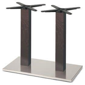 Firenze 9217, Tischgestell für Bars, Stahlgestell und 2 Spalten aus massiver Buche