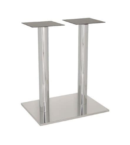 FT 070 Doppelständer, Tischgestell für Bars und Eis, Edelstahl poliert