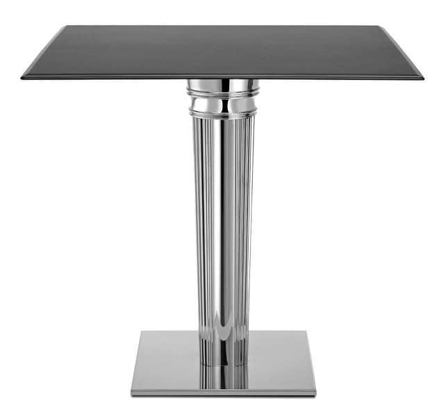 Tiffany Base - square base, Quadratische Basis für die Tabelle, in Edelstahl mit Vorschaltgerät
