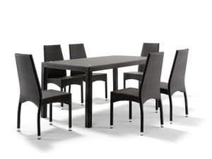 FT 2030 / 160, Geflochtene Tisch aus Aluminium, mit Glasplatte