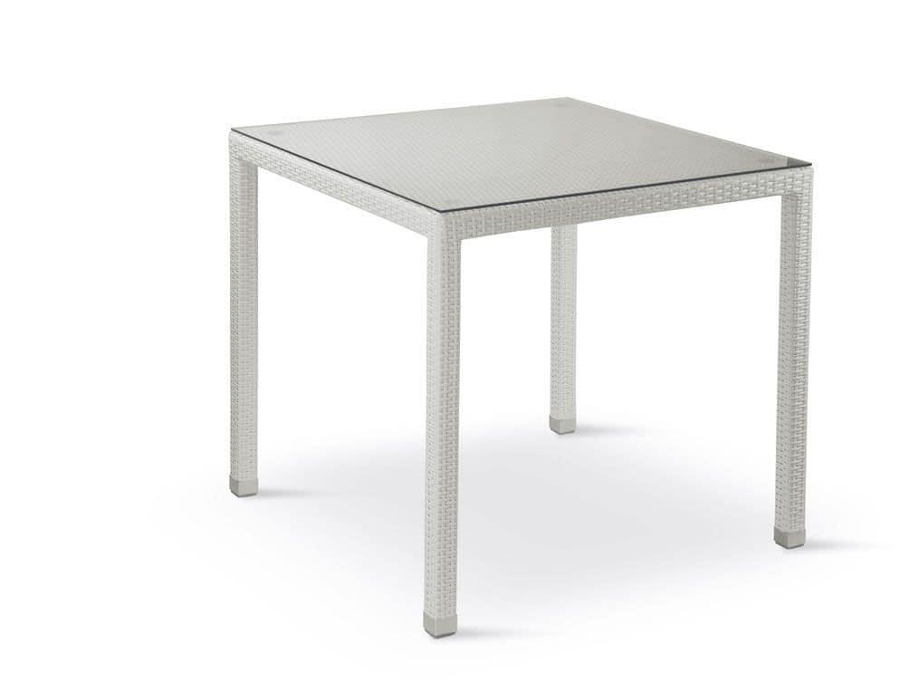 FT 2980, Gewebte Tisch mit Glasplatte, geeignet für Outdoor-