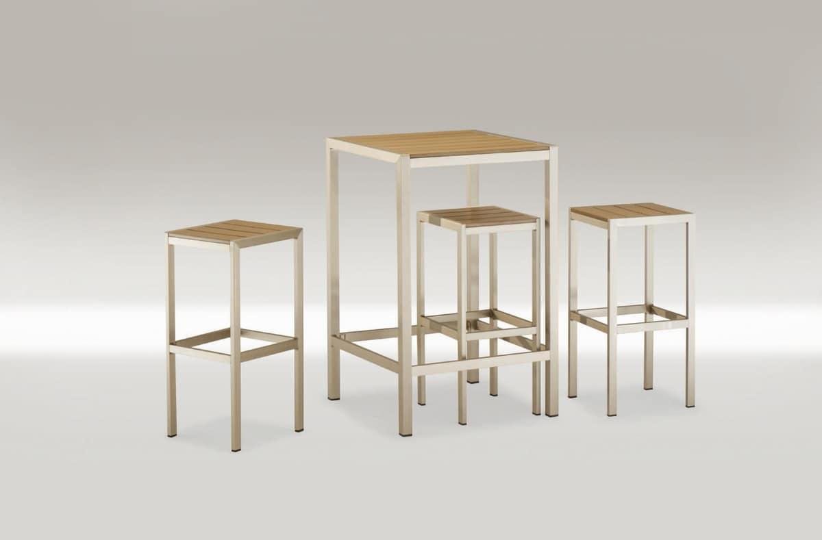 FT 708, Platz hohen Tisch, in Aluminium und Techno-Holz
