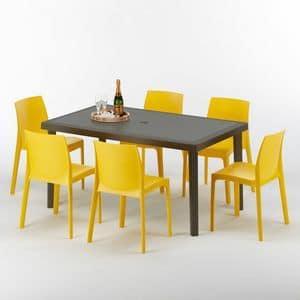 Garten Gartenmöbel Tisch und Stühlen – S7050SETMK6, Tisch im Rattan, aus Polyrattan