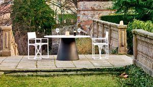 Loulou 70 large, Gartentisch mit runder Platte, ebenfalls aus Holz