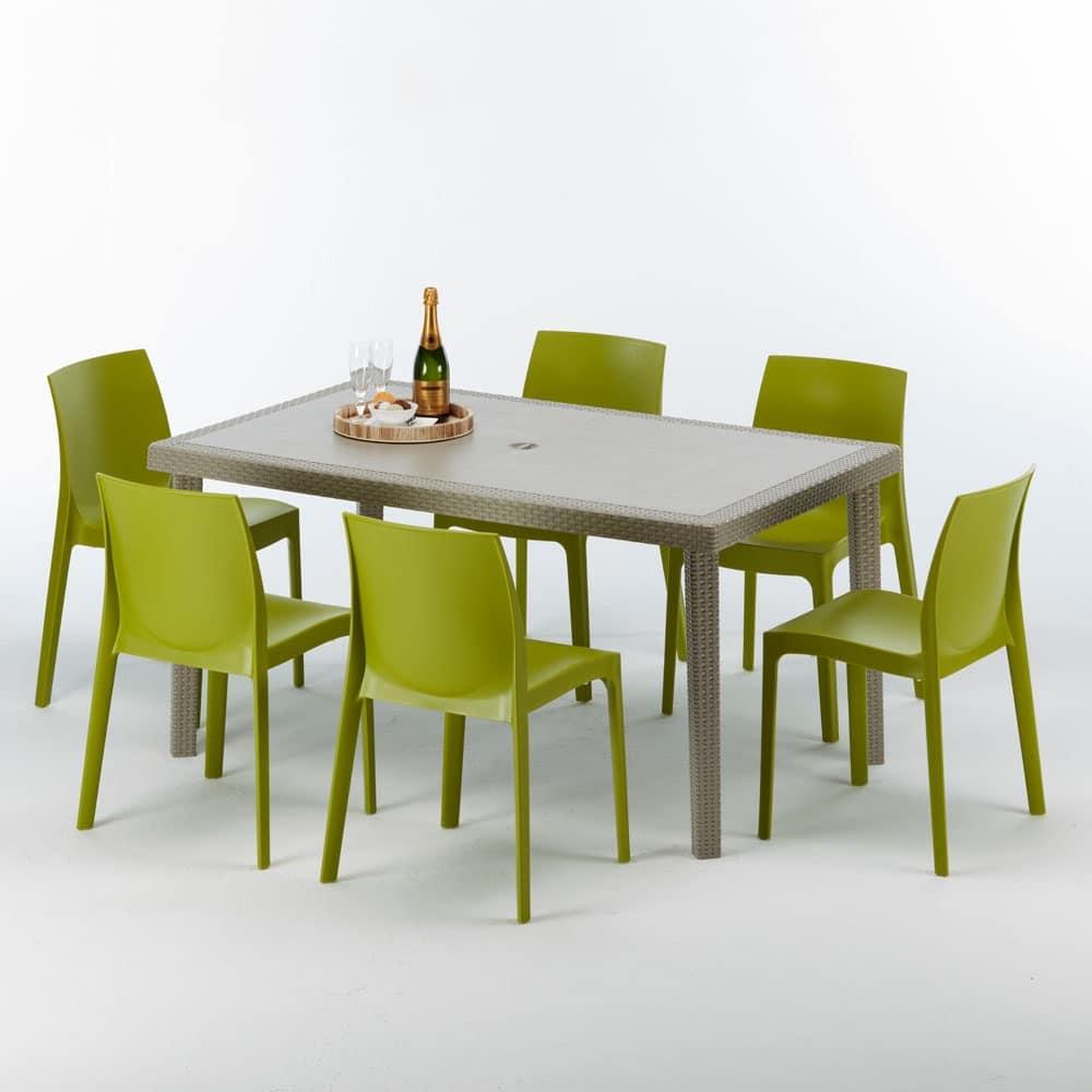 Rechteckiger Tisch in Rattan, elegant und langlebig | IDFdesign