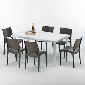 Set in Italien außerhalb Tischgarten gemacht - S7050SETB6, Rechteckiger Tisch aus synthetischem Rattan, für Außen