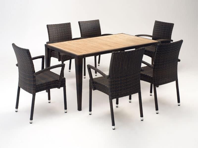 FT 2025.160 - London, Tisch und Stuhl mit Armlehnen, verschiedene Farben, für den Außenbereich