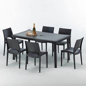 Stühle und Tisch im Freien entfernbarer Garten – S7050SETA6, Tisch im Freien, qualitativ hochwertige, modulare