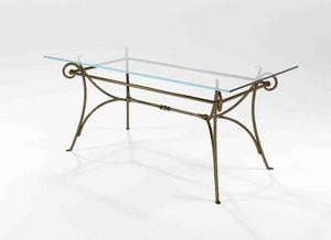Bach, Tisch mit Sockel aus massivem Schmiedeeisen
