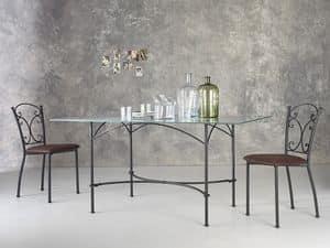Corallo, Rechteckiger Tisch aus Metall, Glasplatte