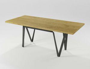 Doppiavi, Rechteckiger Tisch aus Eisen und Holz