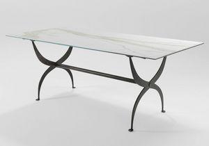 Strauss, Eisentisch mit Glasplatte