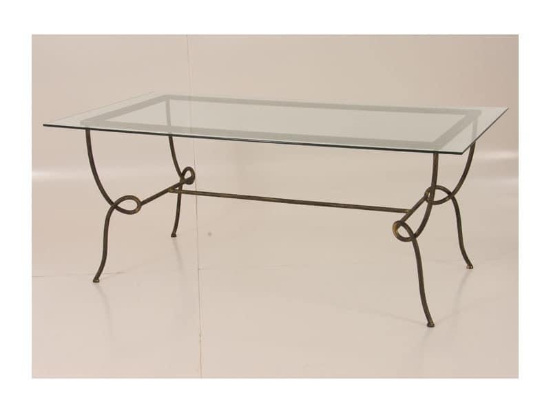 Viola Table, Rechteckigen Tisch mit Glasplatte für den Außeneinsatz