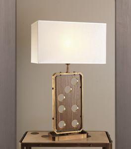 DOMINO HL1076TA-1, Tischlampe mit Lampenschirm aus Leinen