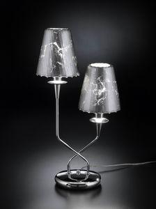 OPERA H 50, Tischlampe mit 2 Kristalllampenschirmen