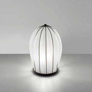 Salice Rt429-030, Tischlampe aus weißem Glas, mundgeblasen.