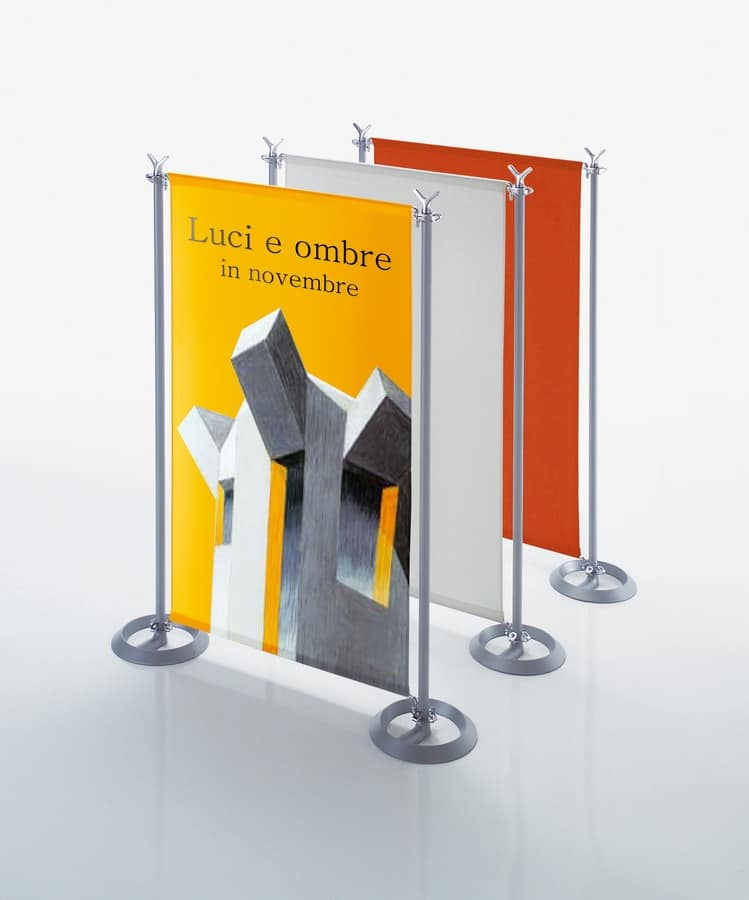 Battista partition system, Partitionen in Stahl und Aluminium-Gehäuse für Freiflächen