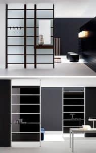LOGOS partition wall, Trennwand mit festen Platten aus Aluminium und Glas