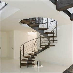 BC.03, Treppe mit Schraubenstruktur aus Stahl, Laufflächen aus Wenge Holz