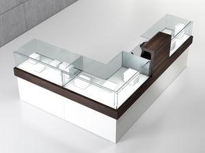 Quadratum frame comp. 06, L-förmiger Zähler, für Bekleidungs- und Juweliergeschäft
