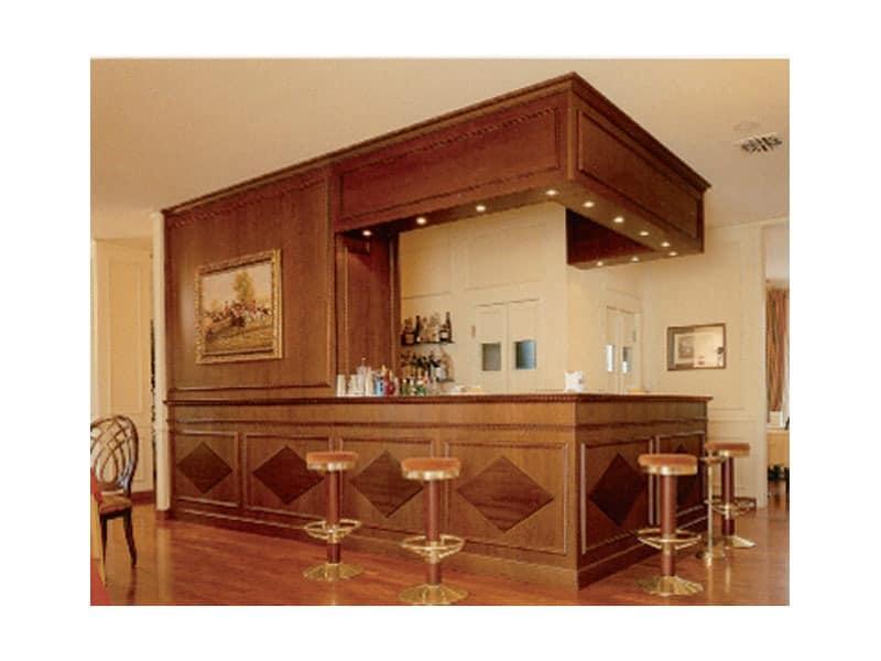 Regency Hotel, Stilvolle Theke, Holzverkleidungen dekoriert, maßgeschneiderte