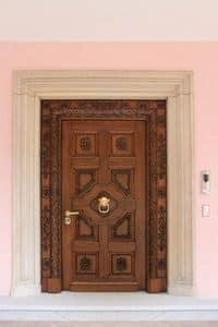 Auriga, Eingangstür aus massivem Eichenholz, Handschnitzereien, ideal für Schloss oder Villa