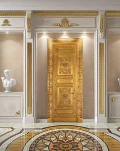 Corona Gold, Tür komplett in antikem Blattgold verziert