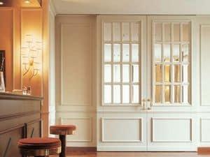 Londra, Tür aus lackiertem Holz, Kristallglas, mit dem boiserie abgestimmt