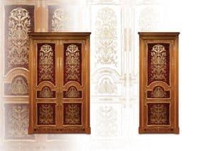 P105 Tür, Intarsien Tür mit Doppeltüren für klassische Wohnzimmer