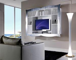 Allegra Living Schrankwand mit Rahmen, Hängender Fernsehstandplatz für Wohnzimmer