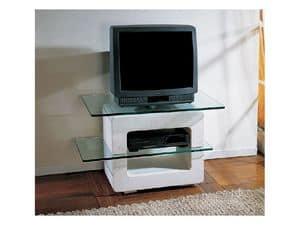Aria small TV Unit, TV-Ständer mit Steinstruktur und Glasplatten