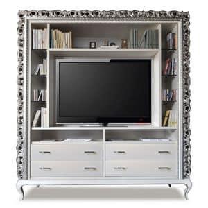 Art. 2410 Frida, Klassische TV-Ständer, 4 Schubladen und Glasböden