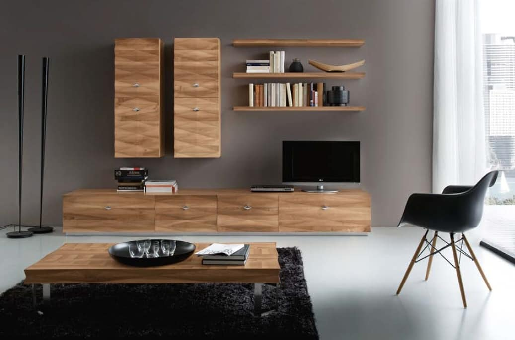 m bel f r zeitgem es wohnzimmer mit schr nken und schubladen idfdesign. Black Bedroom Furniture Sets. Home Design Ideas