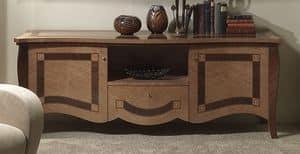 MB56 Charme, TV stehen in eingelegtem Holz, für Hotels und Villen