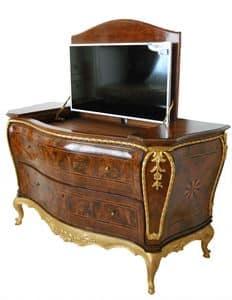MÖBEL ART.CO 0002, Luxus Wurzel Intarsien Kommode mit TV Behälter