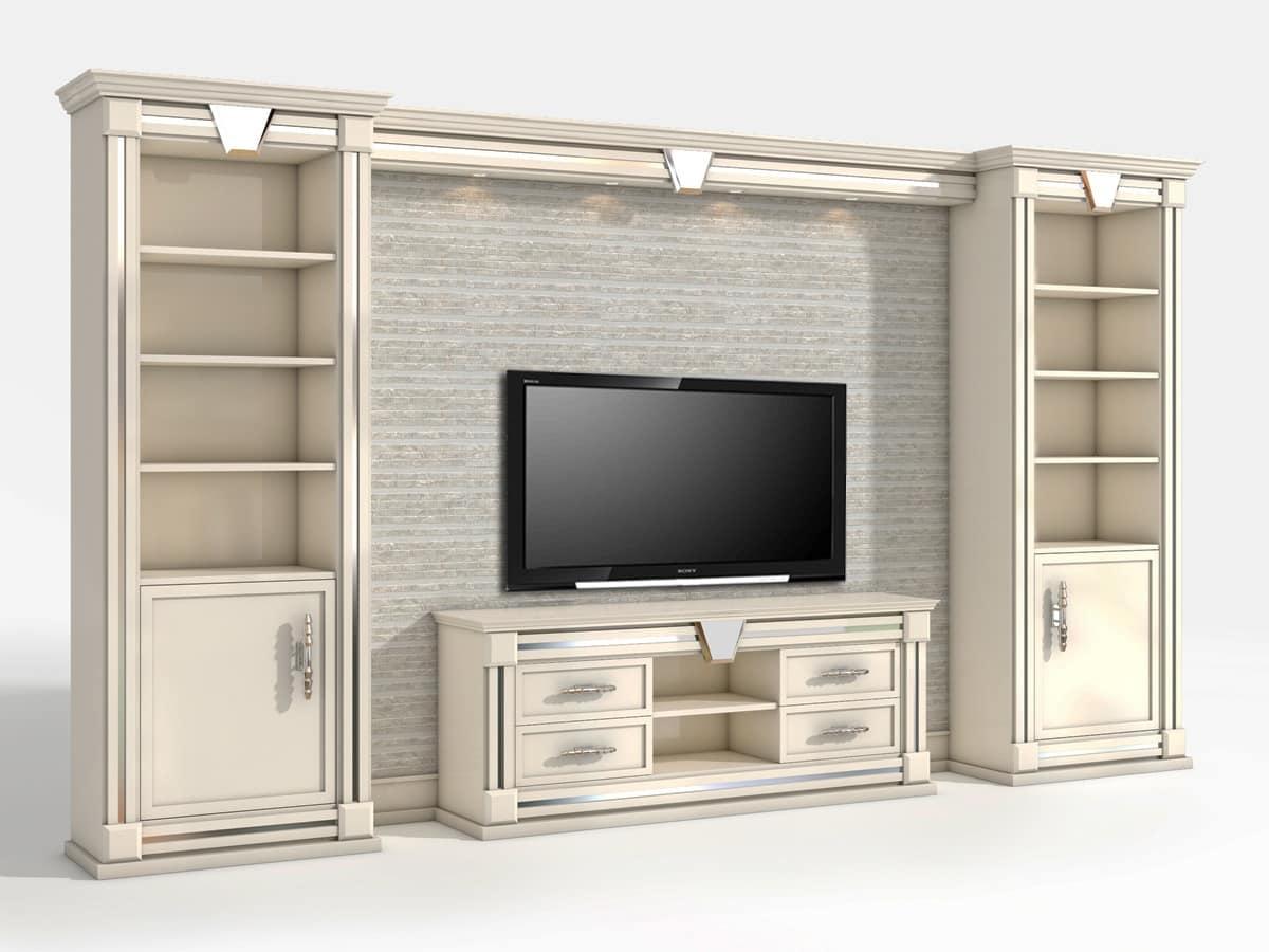 Tv Wand im klassischen zeitgenössischen Stil   IDFdesign