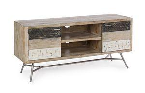 Niedriges Sideboard 2A Leiston, Niedriger TV-Ständer aus Holz