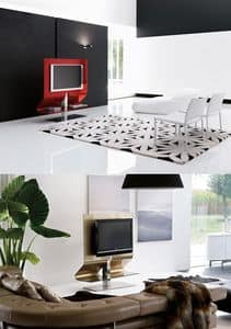ODEON, Swivel TV-Ständer aus Stahl und Glas