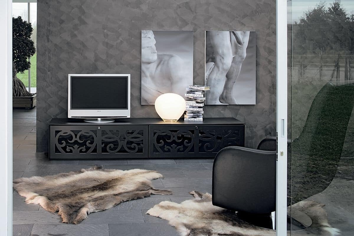 heimkino m bel in perforierten laminat f r wohnr ume idfdesign. Black Bedroom Furniture Sets. Home Design Ideas