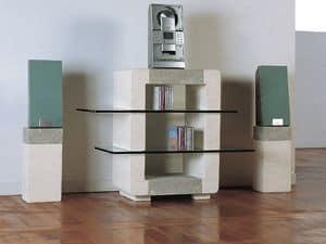 Phono CD Unit, Kabinett für das Haus aus Stein, mit Glasböden