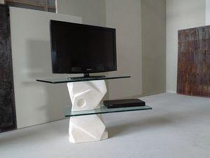 Samurai Fernsehstand, TV-Ständer aus geschnitztem Stein