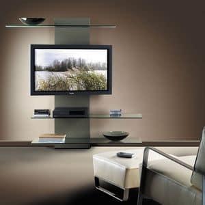 Slide TV holder, TV-Ständer mit Bücherregal, in Laminat und Glas