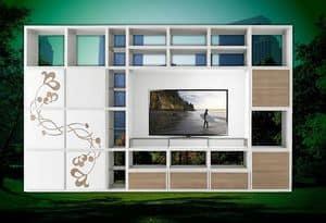 ST 61, TV-Ständer mit Bücherregal und Blumenschmuck in Relief